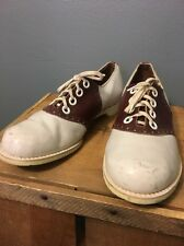 Vtg 50s 60s Womens Bowling Saddle Shoes Oxfords 2-tone Ladies 8 Rockabilly VLV