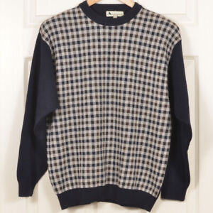 🇮🇹 🇬🇧 Aquascutum M/48 Merino Navy Brown Gingham Crew-neck Jumper Sweater