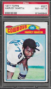 1977 Topps Football #427 Harvey Martin - Dallas Cowboys PSA 8 NM-MT
