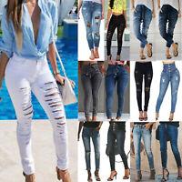 Women Skinny High Waist Ripped Stretch Jeans Jeggings Trousers Denim Long Pants