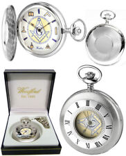 Woodford Sterling Silver Masonic Half Hunter Pocket Watch Free Engraving 1109