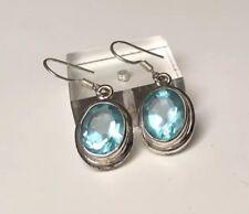 Blautopas Ohrringe Ohrhänger mit Ohrhaken Silber 925 im ovalen Schliff