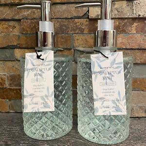 2-Aroma Aria Luxury Hand Wash Soap Pump-EUCALYPTUS MINT-14 oz-Glass Bottle