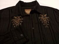 Roar Mens Large Long Sleeve Button-Front Black Embroidered Motorcycle Shirt