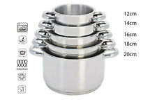 Set pentole a induzione casseruole 5pz acciaio inox triplo fondo da 12 a 20 cm