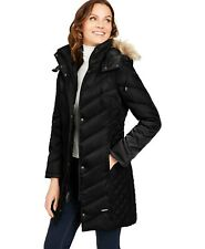 Kenneth Cole Faux-Fur-Trim Hooded Down Puffer Coat Large Black