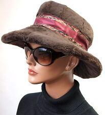 Hut Pelz Samt Kanin geschoren breite Krempe Vintage Braun Elegant
