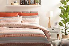 Geometric Rahil Design Duvet Cover Set in Terracotta Orange & Grey King Size