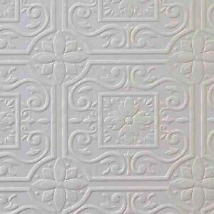 Faux Tin Ceiling Tile Textured Paintable Wallpaper 497-59001 DOUBLE ROLL