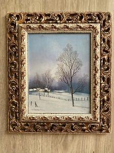 tableau Alferio MAUGERI né en 1933 paysage de Neige avec cadre