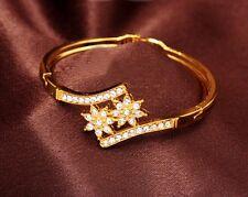 2 Strass Edelweiss Armband gelbgold farbene Armspange Armreif