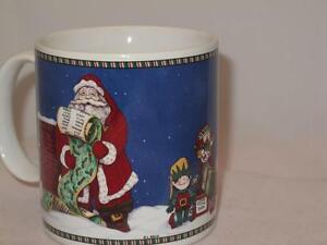 Sakura Cookies & Milk Christmas Coffee Mug Santa Claus Leslie Beck Oneida