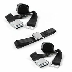 Ford 1955 - 1956 Airplane 2pt Black Retractable Bench Seat Belt Kit - 3 Belts