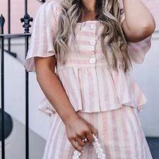 Zara Linen Pink Flounce Peplum Buttoned Up Top T-shirt L