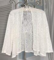 NEW  Plus 2X 1X Ivory Lace Knit Boho Dressy Cardigan Top Jacket