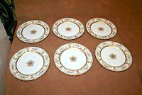 """Vintage Set of 6 WM Guerin 11"""" Fine French Limoges Porcelain Gilt Floral Plates"""