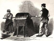 The manufacture of steel pens in Birmingham. Bronzing steel pens, print, 1851