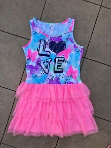 Justice Pink Heart Love Butterfly Ruffe Tulle Dress Size 16 EXC Glitter
