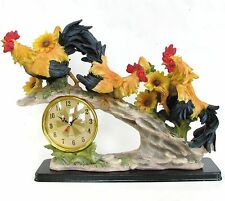New Resin Orange+Red Rooster+Sunflower+Green Plant+Rock,Mountain,Gold Clock