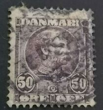 1904 : King Christian Ix : 50ore lilac used nice rare example