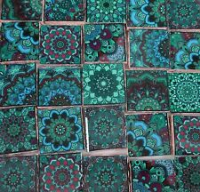 Ceramic Mosaic Tiles - Blue Green Teal Medallions Moroccan Tile Mosaic Tile