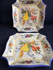 Set Of Two Italian Fruit Square Plates