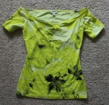 NEW Guess Womens yellow and black floral boat neck short sleeve top SIZE XS
