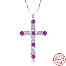 9.0CT Gemstone Ruby 100% 925 Sterling Silver Cross Chain Cross Pendant Necklace