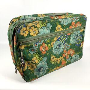 Vintage 60s 70s Bantam Floral Flower Mod Hippie Luggage Bag Suitcase