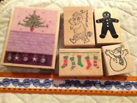 Christmas & Winter Wood Mounted Rubber Stamp Lot 5