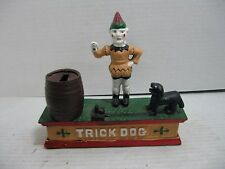 Cast Iron Mechanical Trick Dog & Circus Clown Bank Working Condition