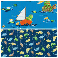 QUILTING/CRAFT FABRIC 100% COTTON SUSYBEE FROGS AND FISHES MULTICOLOURED