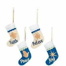 SALE》4 Blue & Gold Stocking Christmas Tree Ornaments》FAITH, JOY, BELIEVE, PEACE