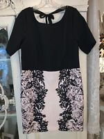 LC Lauren Conrad Women's Size 16 Short Sleeve Printed Dress Black Rose Floral