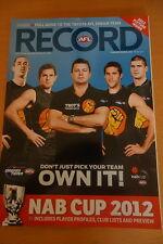 2012 AFL NAB CUP PRE-SEASON PREVIEW FOOTBALL RECORD