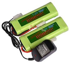 2 pcs 7.2V 3800mAh Ni-Mh rechargeable battery pack RC Tamiya Plug + Charger USA
