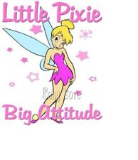IRON TRANSFER TINKERBELL LITTLE PIXIE BIG ATTITUDE PINK