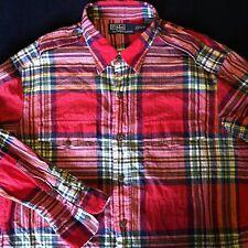 Ralph Lauren Button Front Red Plaid Shirt Size Large EUC