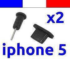 x2 LOT NOIR anti-poussière cache capuchon bouchon lightning  pour iphone 5 5C 5S