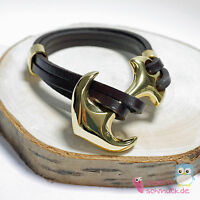 Wrap Bracelet Leather with Anchor as Clasp - Brown