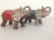 Pair of Indian Elephant Figurines Ornaments Statues Sculptures (2) Trunk up