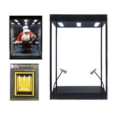 Display Case LED Illuminated For Models Figures Antiques & Toys Black - KC9926M