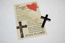 HEMATITE POCKET CROSS + Card Christian Witness JESUS share the gospel