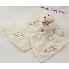 Doudou ours bio DOUDOU ET COMPAGNIE mouchoir blanc 17 cm + sac (VI-1707)
