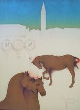 """Bruno Bruni ORIG. lito """"cavalli di San Marco"""" a mano firmato E.A. esemplare 1983!"""