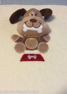 Blankets & Beyond Brown Puppy Dog w/bone Red Dish Cream Large Security Blanket