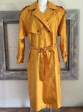 Yellow Gold Trench Coat 9 10 M L 90s VTG Rain Otello Pelle Womens