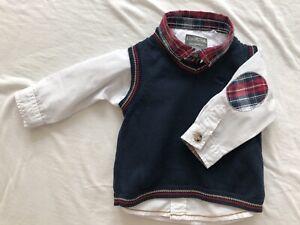 Baby Cool Club Junge Taufe Hochzeit Hemd mit Weste 62 cm