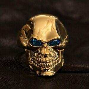 Blue CZ Eyes Gold Plated Brass Skull Ring Mens Biker Punk Ring GP131A US 7~15