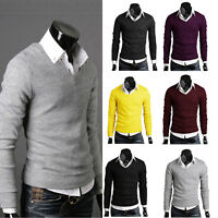 Men's Slim Fit V-neck Knitted Cardigan Pullover Jumper Sweater Tops  M L XL XXL#